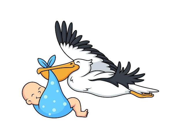 Słodki pelikan z kreskówką dla dzieci