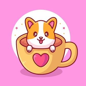 Słodki pies corgi w filiżance kawy z sercem zwierzę domowe logo wektor ikona ilustracja w stylu płaski