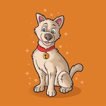Słodki pies czeka na jedzenie ilustracja w stylu grunge