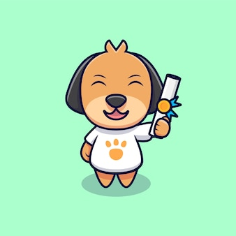 Słodki pies dostał certyfikat ikona ilustracja kreskówka. płaski styl kreskówki