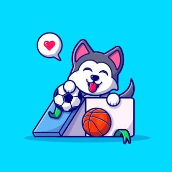 Słodki pies husky w pudełku z ilustracją kreskówki piłki