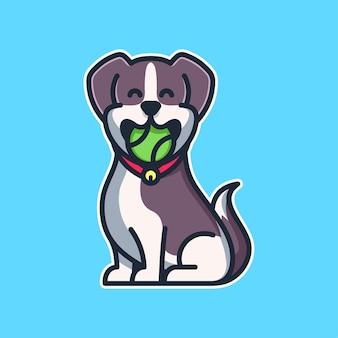 Słodki pies ikona ilustracja kreskówka z ugryzieniem piłki