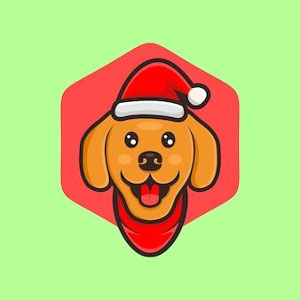 Słodki pies kreskówki projekt wektor z kapeluszem boże narodzenie