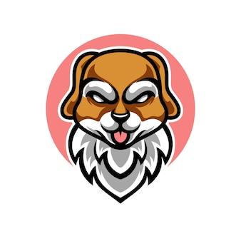 Słodki pies maskotka logo