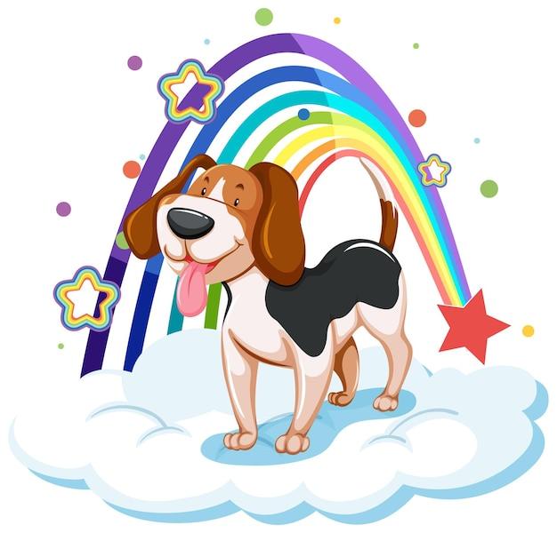 Słodki pies na chmurze z tęczą