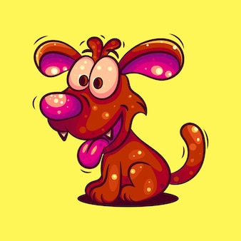 Słodki pies odpowiedni na postać, ikonę, logo, naklejkę i ilustrację
