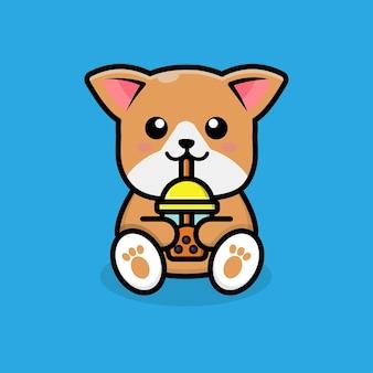 Słodki pies pijący herbatę boba