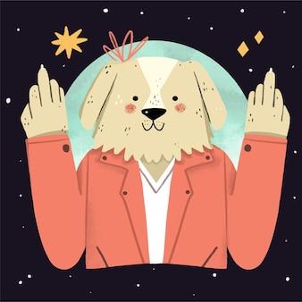 Słodki pies pokazujący symbol fuck you