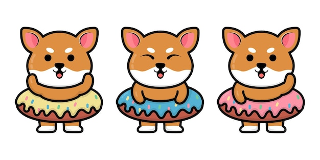 Słodki Pies Shiba Inu Z Ilustracją Kreskówki Pączka Premium Wektorów