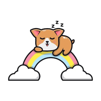 Słodki pies śpi na ilustracji kreskówki tęczy