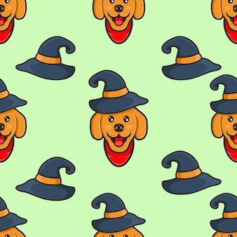 Słodki pies w czapce halloween wzór
