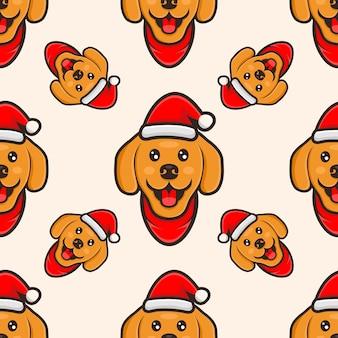 Słodki pies w czapce świąteczny wzór