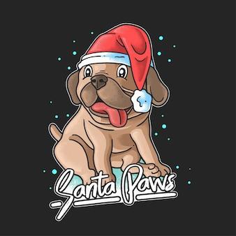 Słodki pies w czapce świętego mikołaja łapy mikołaja świętowanie bożego narodzenia