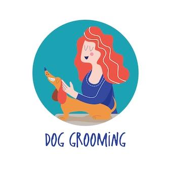 Słodki pies w salonie groomerkobieta wyciera z psem z ręcznika koncepcja pielęgnacji psa