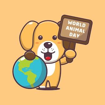 Słodki pies w światowym wydarzeniu z okazji dnia zwierząt