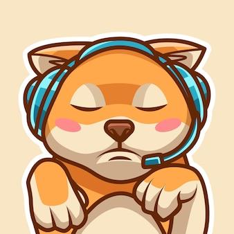 Słodki pies w zestawie słuchawkowym do gier