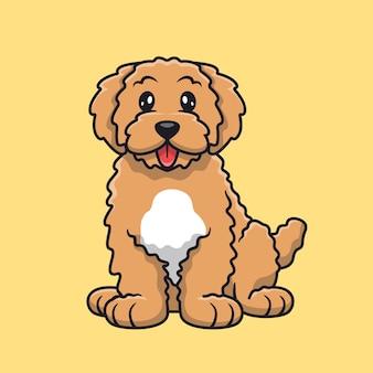 Słodki pies wystawia język