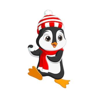 Słodki pingwin bawi się śnieżką