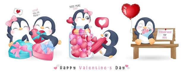 Słodki pingwin doodle do kolekcji walentynkowej