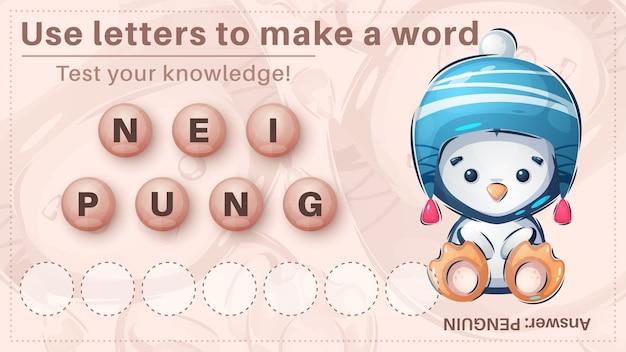 Słodki pingwin - gra dla dzieci, utwórz słowo z liter