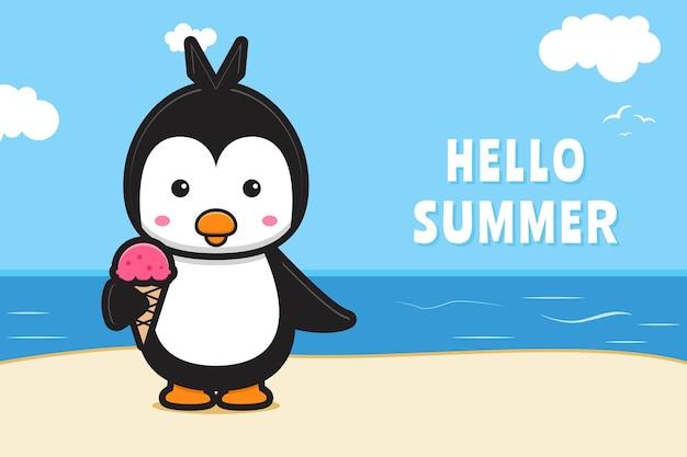 Słodki pingwin i lody z letnim banerem z pozdrowieniami ikona ilustracja kreskówka