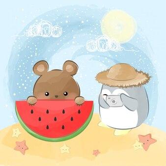 Słodki pingwin i niedźwiedź