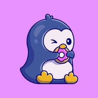 Słodki pingwin jedzenie ilustracja kreskówka pączka
