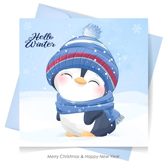 Słodki pingwin na boże narodzenie z kartą akwareli