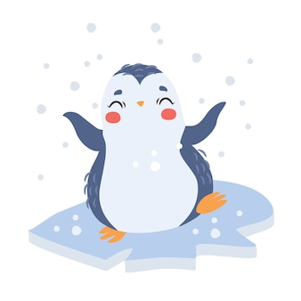 Słodki pingwin na lodzie