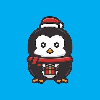 Słodki pingwin świętuje boże narodzenie