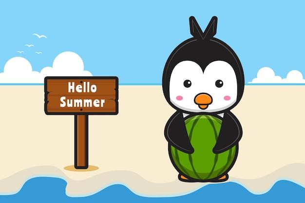 Słodki pingwin trzymający arbuza z letnim powitaniem transparent ikona ilustracja kreskówka
