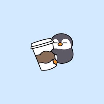 Słodki pingwin uwielbia kawę