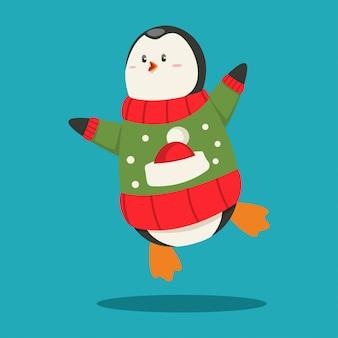 Słodki pingwin w brzydkim swetrze boże narodzenie kreskówka zabawny charakter zwierząt na białym tle.