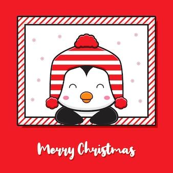Słodki pingwin w oknie pozdrowienie wesołych świąt i szczęśliwego nowego roku kreskówka doodle karta ilustracja płaski styl kreskówki