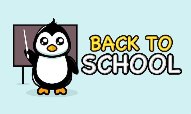 Słodki pingwin w projekcie banera z powrotem do szkoły