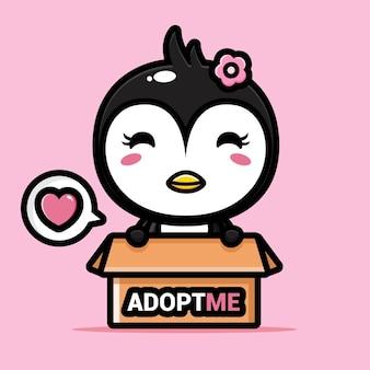 Słodki pingwin w pudełku adopcyjnym