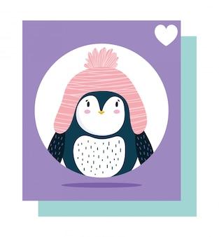 Słodki pingwin w różowym kapeluszu