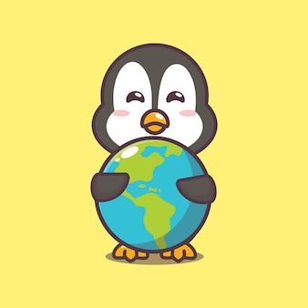 Słodki pingwin w światowym dniu zwierząt