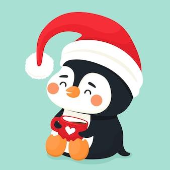 Słodki pingwin z kubkiem kakao i czapką mikołaja. wektor znaków w stylu cartoon płaski.