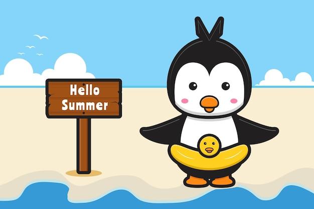 Słodki pingwin z letnim banerem powitalnym ikona ilustracja kreskówka