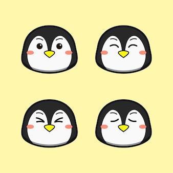 Słodki pingwin z zestawem zwierząt z wyrazem twarzy