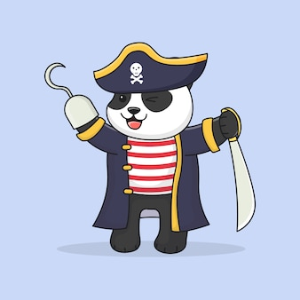 Słodki pirat panda trzyma miecz