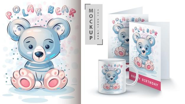 Słodki plakat niedźwiedzia polarnego i merchandising