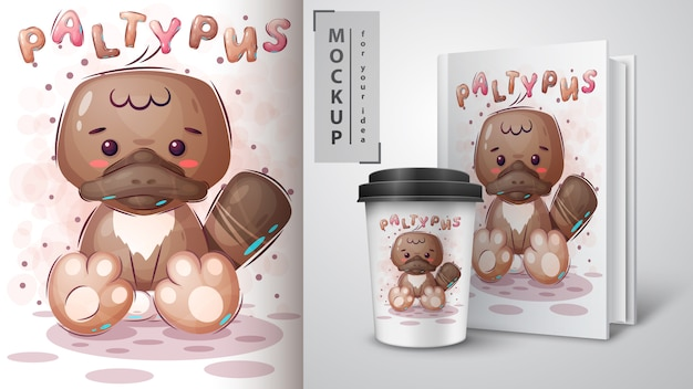 Słodki plakat paltypus i merchandising.