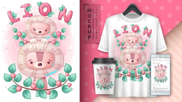 Słodki plakat rodziny lwów i merchandising