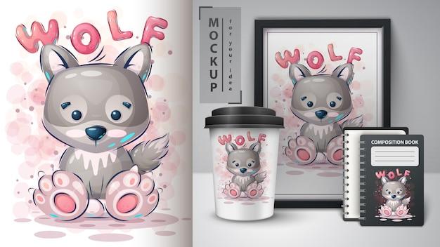 Słodki plakat wilka i merchandising