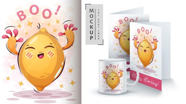 Słodki plakat z cytryną i merchandising