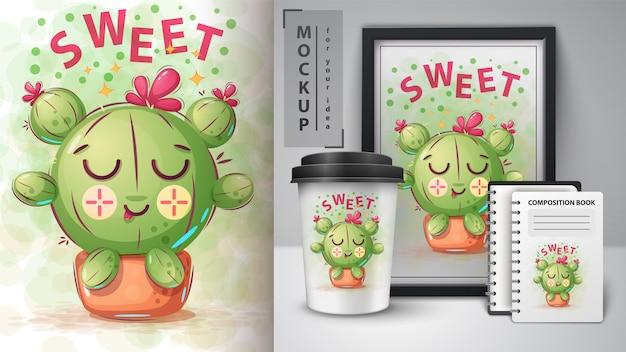 Słodki plakat z kaktusem i merchandising