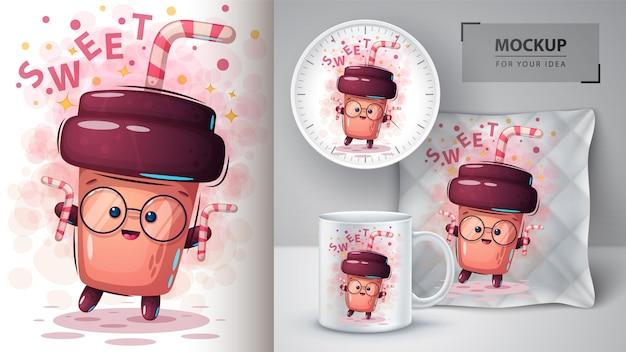 Słodki plakat z kawą i merchandising