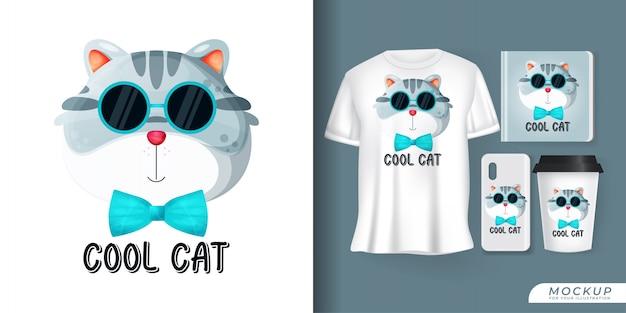 Słodki plakat z kotem i merchandising